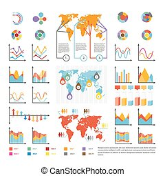 Infographics and analytics diagram and charts vector template icons