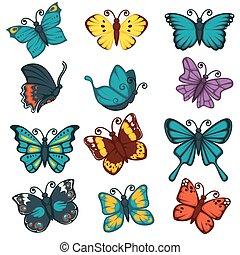 Butterflies species types decoration design element vector...
