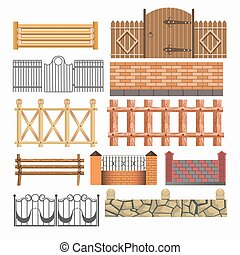 Gate, fences and hedges metal, stone, wood vector icons set...