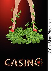 casino. Girl s legs in a pile of dollar of finance
