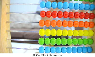 HD Close up shot asian little girl playing abacus