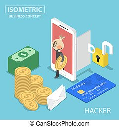Isometric hacker steal money and data from smartphone - Flat...