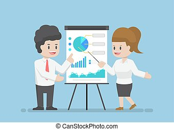 Businessman and Businesswoman Analyzing Business Graph Together