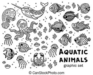 Aquatic animals vector graphic set - Vector collection with...