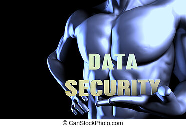 Data security With a Business Man Holding Up as Concept