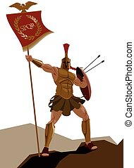 Spartan warrior with armor and with the flag holding a sword