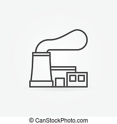 Nuclear power plant icon - vector outline symbol or design...
