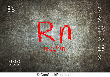 Isolated blackboard with periodic table, Radon, chemistry