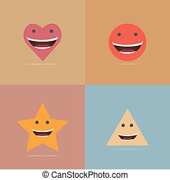 Set of smile icon, Vector illustration, EPS10.