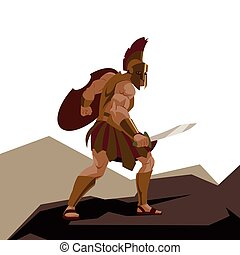Angry spartan warrior with armor and hoplite shield holding...