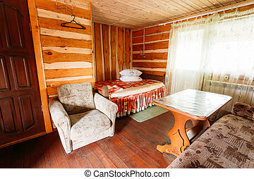 Interior Of Restroom In Belarusian Russian Wooden Guest...