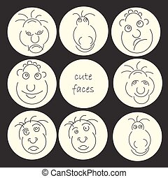 Funny humor character collection. Cute faces abstract avatar set.