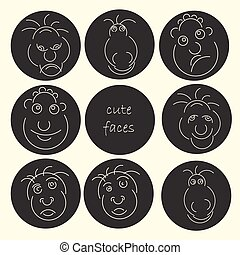 Cute faces abstract avatar set. Funny humor character collection. Vector illustration