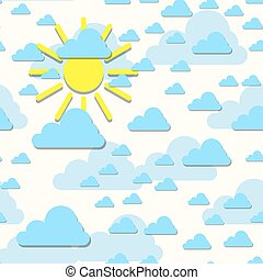 Clouds with sun backdrop. Vector illustration. Abstract cartoon cloudscape decorative background.