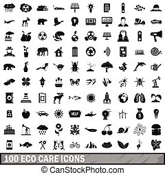 100 eco care icons set in simple style