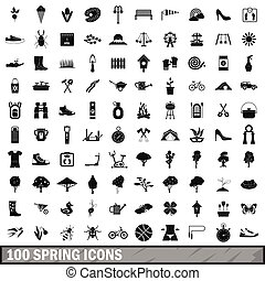 100 spring icons set in simple style