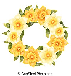 Elegant background with yellow daffodil narcissus. Spring flower with stem and leaves. Realistic pattern