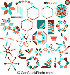 Turquoise, orange vector symbols
