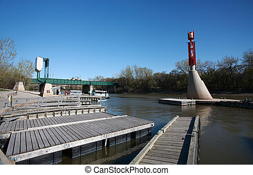 diques,  Winnipeg, río, barco, rojo