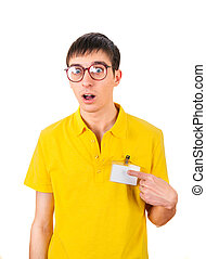 Young Man with Empty Badge - Surprised Young Man with Empty...