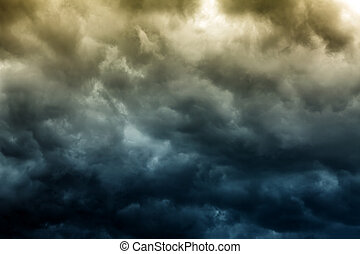 Dramatic Clouds Background - Toned Photo of the Dark and...