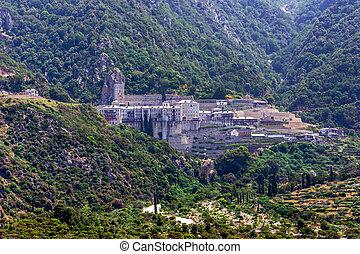 Pavlou monastery, Mount Athos - Scenic view of Agiou Pavlou...