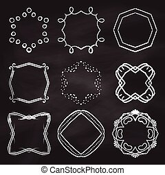 Decorative frames on chalkboard background