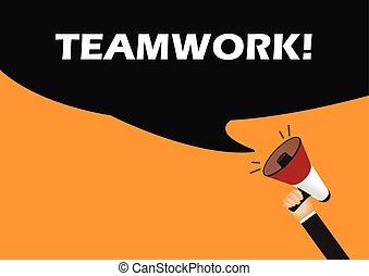 Hand holding megaphone to speech - Teamwork