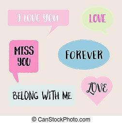 Romantic love message set.eps10