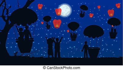 date. people silhouette travel balloon