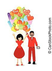people gift a bunch of balloons. illustration
