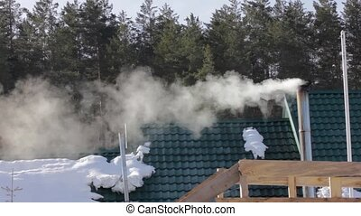 smoke and steam from chimney above roof house in the forest
