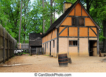 Back in Time - An old house within fort walls at Jamestown,...