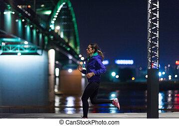 Running  late-night - Female late-night jogging outdoors