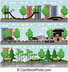 Vector set of transport posters, banners in flat style -...