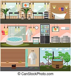 Vector set of spa salon interior concept posters, flat style
