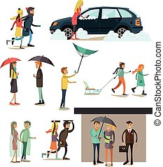 Vector set of weather concept flat style design elements -...