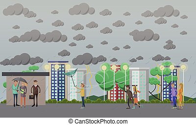 Stormy, windy and rainy weather concept vector illustration,...