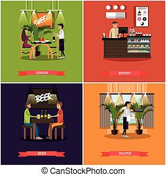 Vector set of pub concept posters in flat style - Vector set...