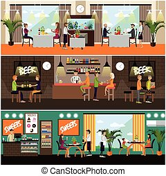 Vector set of pub and restaurant concept posters, flat style...