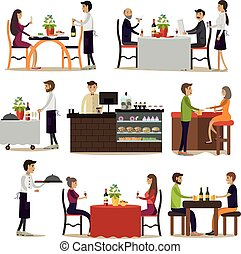 Vector set of pub and restaurant people icons, flat style -...