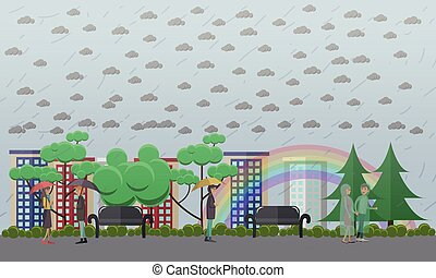 Rainy weather concept vector illustration in flat style -...