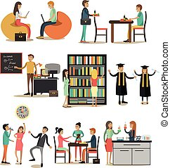 Vector set of university people icons in flat style,...