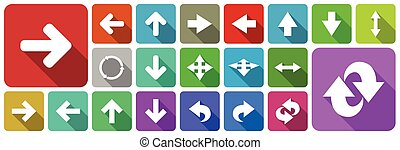 Flat design colorful arrows vector web icons with shadow isolated on white background in eps 10.