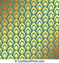 gold and teal pattern background 2609 - Decorative grunge...