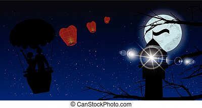 couple in a balloon and lighthouse. illustration. use a...