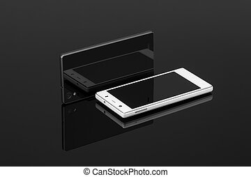 two mobile phone on a dark background - two touch mobile...