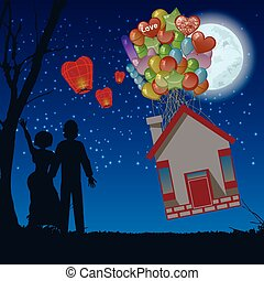 couple night house fly the balloons illustration - couple...
