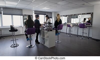 Interior of luxury beauty salon with two professional...