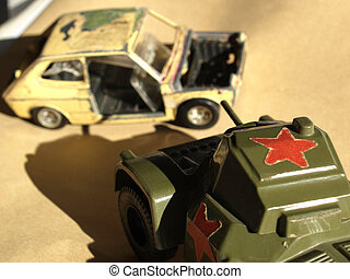 Scale model of Russian tank with hard desert sun shadow and...